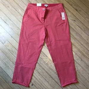 Crown & Ivy Women's Pink/Salmon cropped pants Sz6